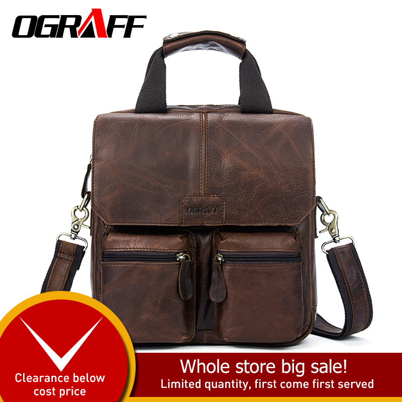 OGRAFF Men bag male Handbag Messenger Bag Men Leather Handbags Male Genuine Leahter Bag Brand Designer
