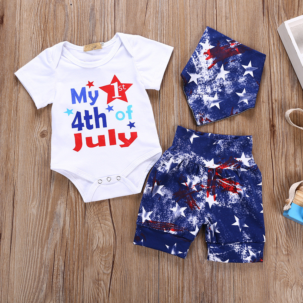 2018 Newborn Baby Boys Clothes Outfit My 1st 4th of July Toddler Girls Sets White Short Sleeve Body + Pants + Bibs Children Suit