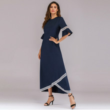 Muslim women short-sleeve Dubai Dress maxi abaya jalabiya islamic Chiffon clothing Lace Spliced Half Sleeve Jilbab Dress 4.23