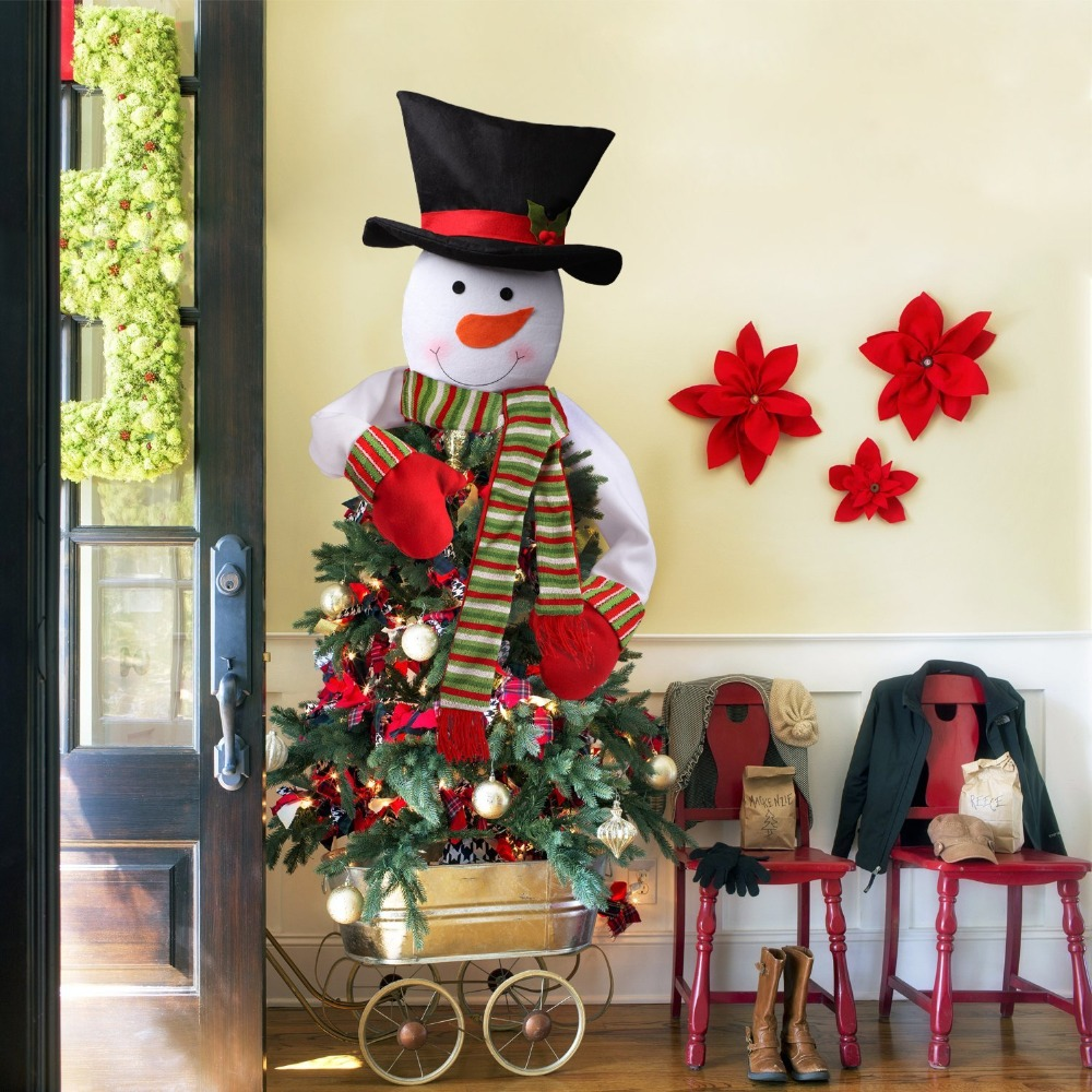 Christmas Large Snowman Christmas Tree Home Outdoor With Scarf Hat Hanging New Year Dinner Party Home Christmas Decorations