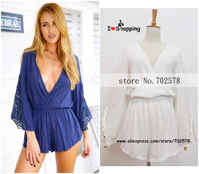a80797f06ed8 Summer Style White Jumpsuit Women Skirt Shorts Casual Hot Pants Lace Sexy V  U Resort Wear monos mujer macacao feminino Playsuit