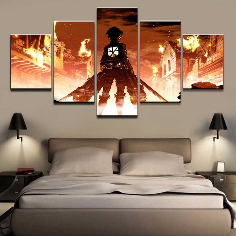 Home Decor Print Painting 5 Piece Animation Attack On Titan Poster Wall Art Modular Canvas Picture For Bedroom Background Framed Painting Calligraphy Aliexpress