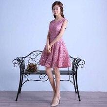 Sexy Rosa Spitze Robe De Cocktailkleider 2016 Elegante Partei Abendkleid