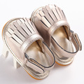 wholesale 15pairs/lot brand PU Leather summer double tassel baby moccs hard bottom for Baby shoes infant anti-slip first walker