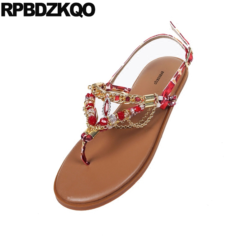 05cfd6e0eb2229 Flat Slingback Beach Style Shoes Sandals Jewel Crystal Leisure Ethnic Chain Women  Diamond Bohemia Red Nice ...