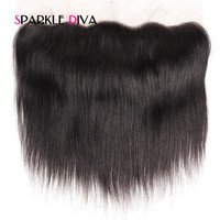 Sparkle Diva Brazilian Straight Remy Hair Lace Frontal Can Knots Bleached 100 Human Hair Medium Brown