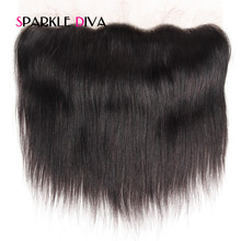[SPARKLE DIVA HAIR] Brazilian Remy Hair Straight Lace Frontal Closure 13×4 With Baby Hair Free Part 100% Human Hair 8″-18″