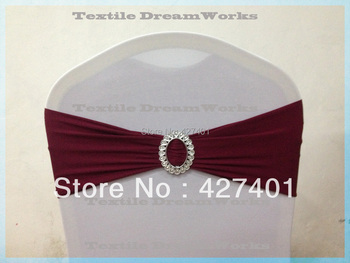 Hot Sale Burgundy Double Layer High Quality  Lycra Band With Oval Buckle  For Wedding Decoration