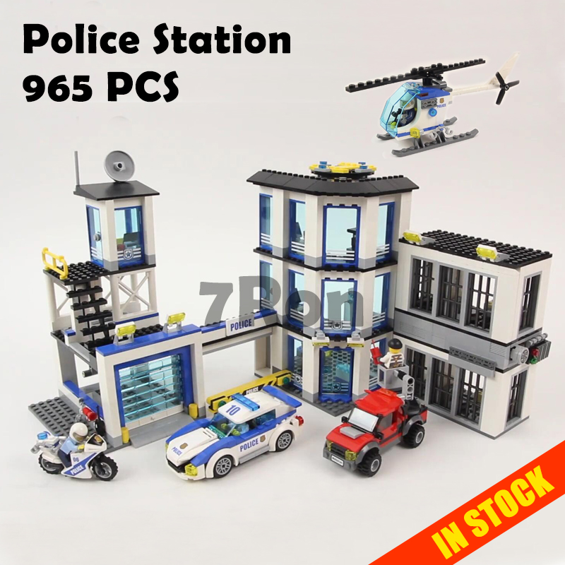 Models building kit Compatible with lego City Series 60141 965Pcs Police Station Educational DIY Bricks toys & hobbies 02020 dhl lepin 02020 965pcs city series the new police station set model building set blocks bricks children toy gift clone 60141