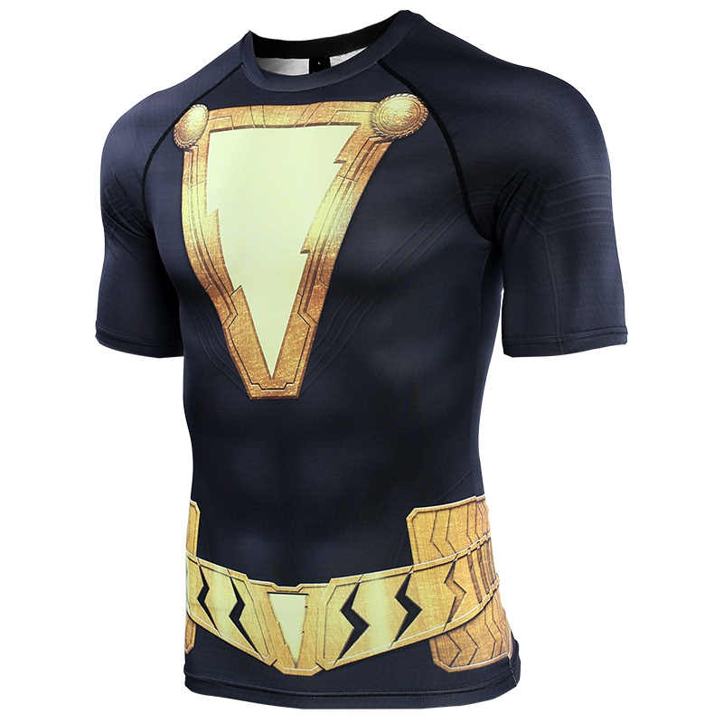 Black Adam  3D Printed T shirts Men Shazam Compression Shirt 2019 Summer Cosplay Costume Iron Men Short Sleeve Tops Male