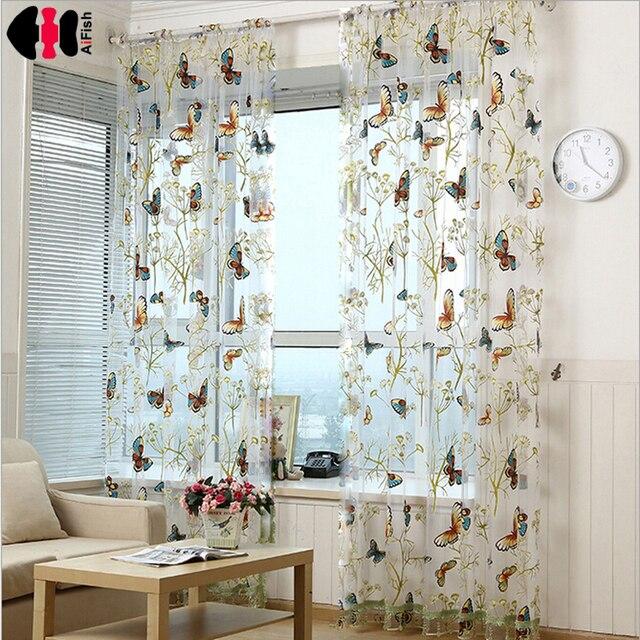 Slaapkamer gordijnen met vlinders Tulle Decoratie Gordijnen Pas ...