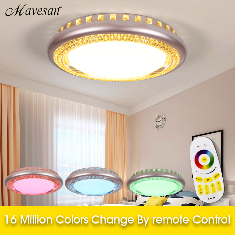 Ceiling Lights Dedicated Multicolor Ultra-thin Led Round Ceiling Light Modern Panel Lamp Lighting Fixture Living Room Bedroom Kitchen Remote Contro