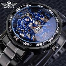 זוכה קלאסי כחול Mens מכאני שעונים רומי שחור נירוסטה בנד ריינסטון שלד יד רוח שעון עסקי שעון