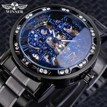 Zwycięzca klasyczny niebieski męskie zegarki mechaniczne rzymski czarny pasek ze stali nierdzewnej Rhinestone szkieletowa dłoń wiatr zegarek biznesowy zegar