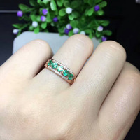 Natural Green Emerald Stone Ring Natural Gemstone Ring 925 Sterling Silver Trendy Exquisite Array Women S