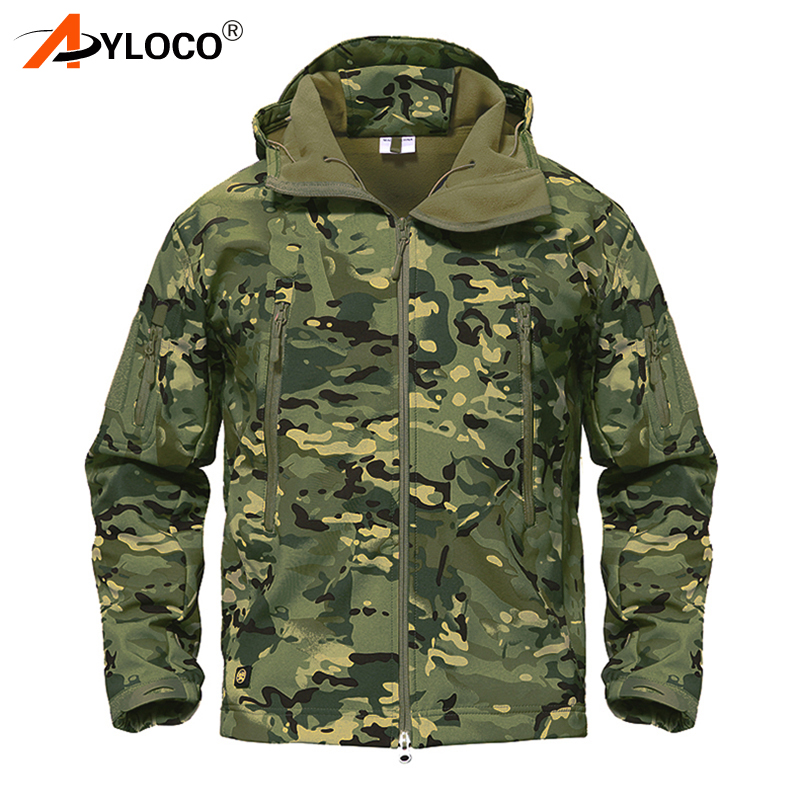 Winter Shark Skin Soft Shell Jackets Army Camouflage Coat Military Tactical Jacket Men Waterproof Windbreaker Tactical