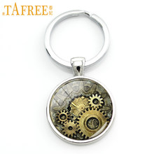 TAFREE punk horloge engrenage photo porte-clés vintage rayé luxueux montre engrenages porte-clés steampunk mouvement hommes bijoux KC609(China)