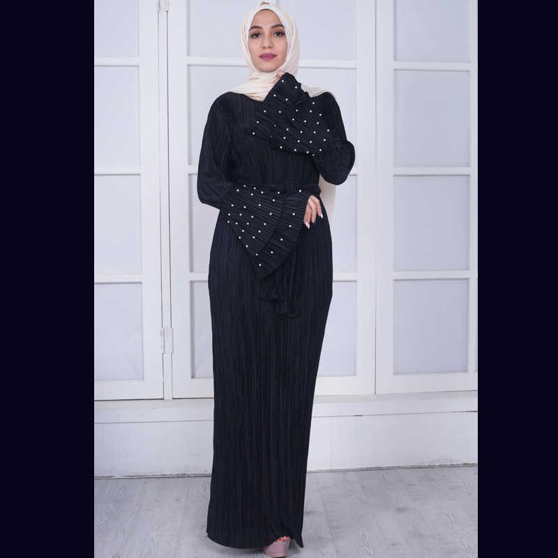 31a517a5252d0 ... Plus Size 2018 UAE Abaya Dubai Moroccan Kaftan Arabic Jurken Muslim  Pleated Hijab Dress Vestido Dresses ...