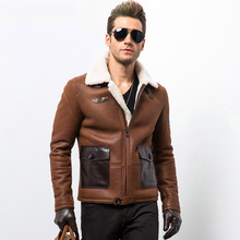 2015 Air force Fur Men's sheepskin jacket Men's leather motorcycle