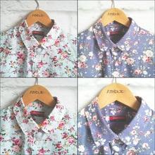 Dioufond Femmes D'été Blouses Vintage Floral Blouse À Manches Longues Chemise Femmes Camisas Femininas Hauts pour Femmes Mode Coton Chemise