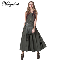2017 Embroidery Tassel Sexy Women Linen Dresses Summer Vintage Long Bohemian Dress Pleated Casual Maxi Dress
