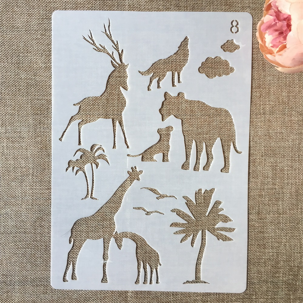 1Pcs 29*21cm Giraffe Wolf Lion Deer DIY Layering Stencils Painting Scrapbook Coloring Embossing Album Decorative Card Template