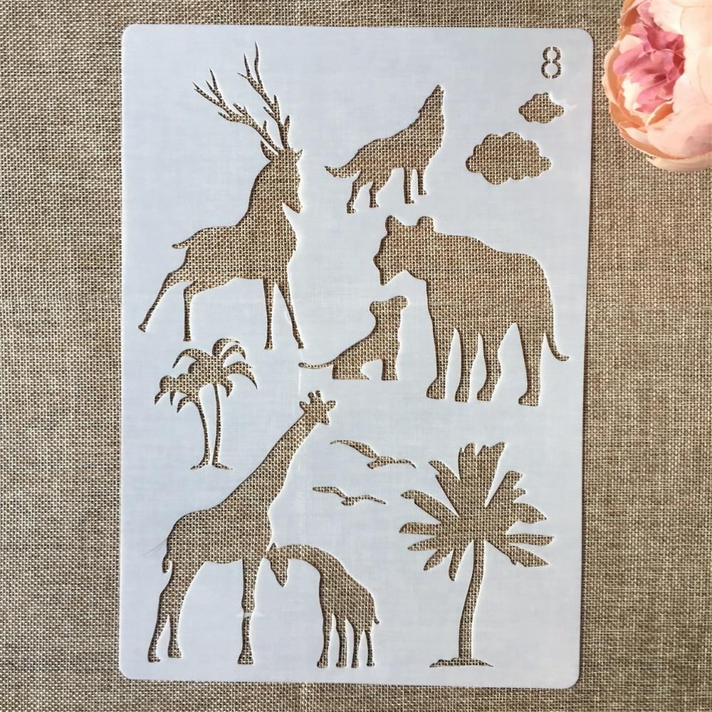 1Pcs 29*21cm Giraffe Wolf Lion Deer DIY Layering Stencils Painting Scrapbook Coloring Embossing Album Decorative Card Template