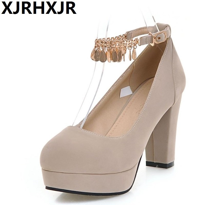 XJRHXJR Spring New Single Shoes Woman Fashion Tassel Ankle Belt Round Toe Wedding Party Pumps Women High Heels Big Size 34-43 morazora fashion 2017 women pumps thick heels platform spring single shoes woman high heels round toe party wedding shoes