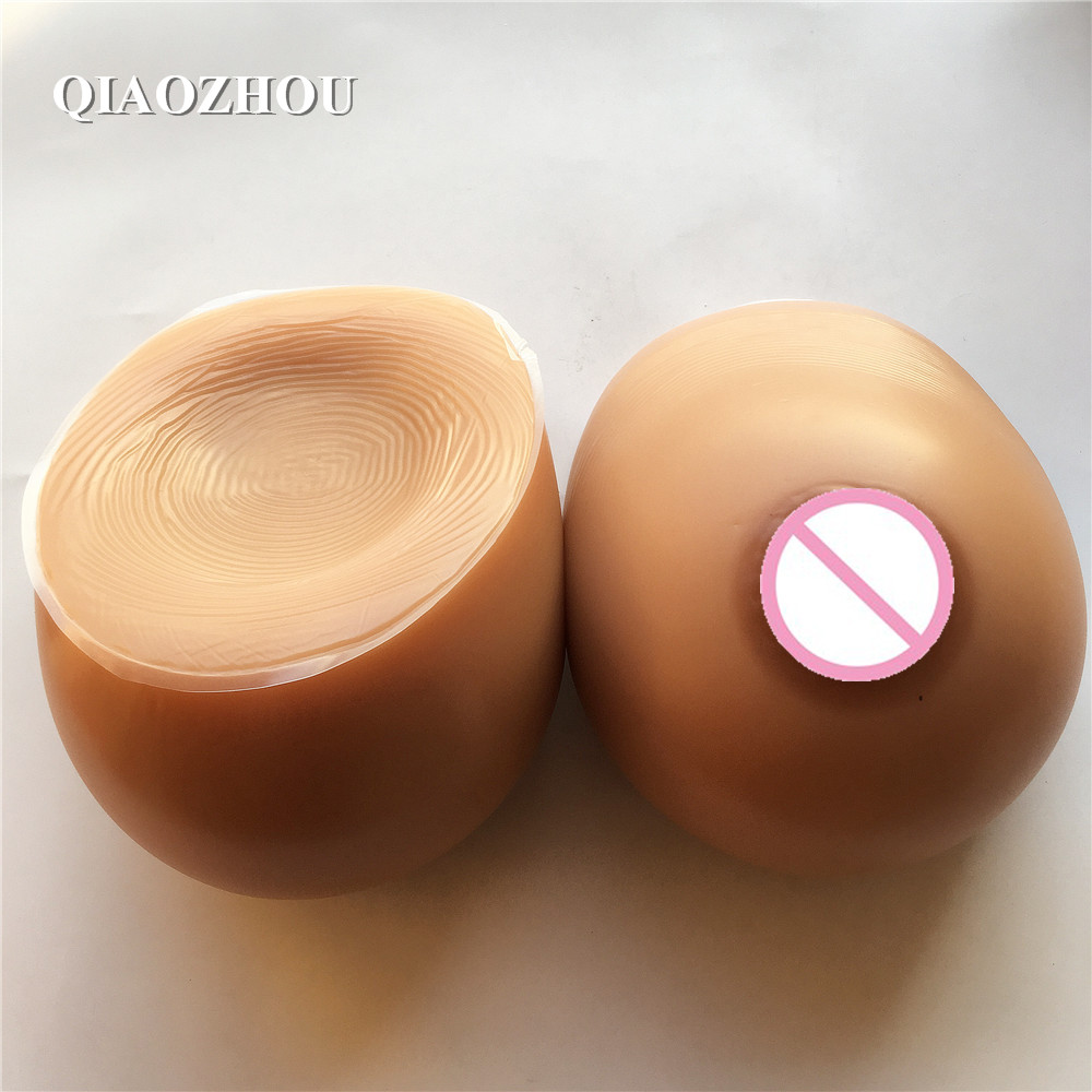 Buy 4600g/pair tan skin brown fake breast form drag queen realistic silicone breasts huge II cup