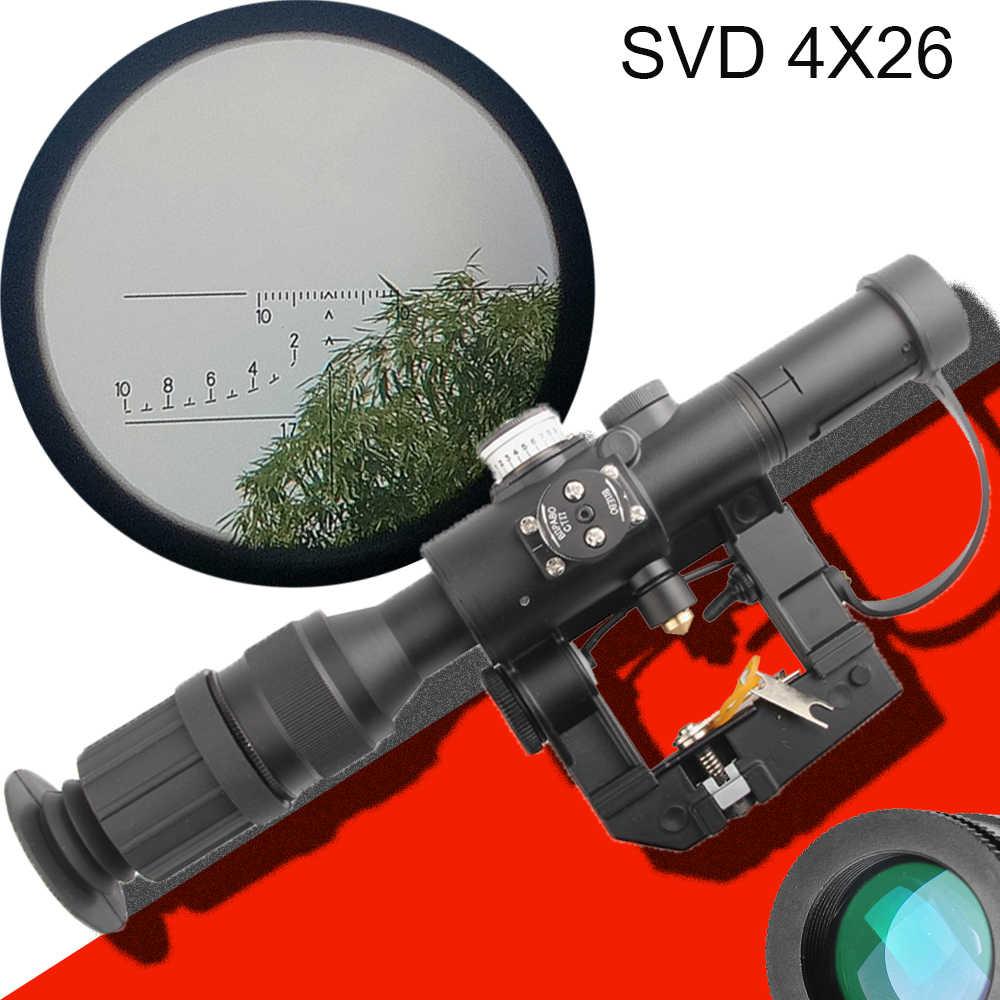 New Optical Sight Tactical Hunting Svd Dragunov Optics 4x26 Red Illuminated Rifle Scope Airsoft Red Dot Sight Sniper Ak Rifle Riflescopes Aliexpress