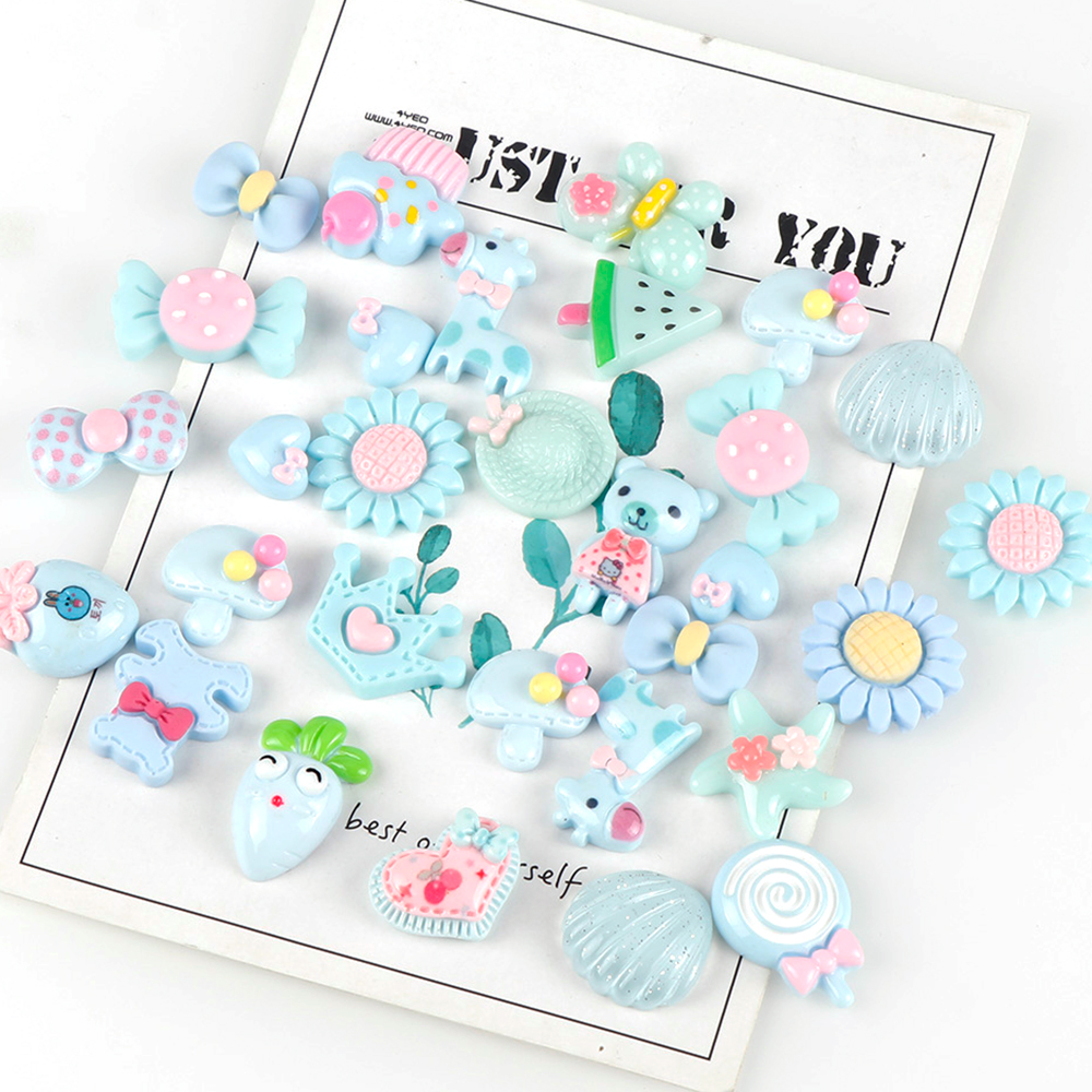 30Pcs Mix Design Blue Color  Resin Flat Back Cabochon Art Supply Decoration Charm Craft Sun Flowers Candy Bear(China)
