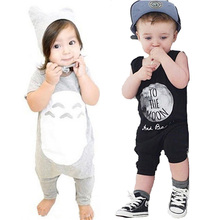 Cartoon Totoro Boy Romper Summer Style Baby Clothes Letter Printed Girl Rompers Jumpsuit 2017 Fashion Infant Clothing fantasia