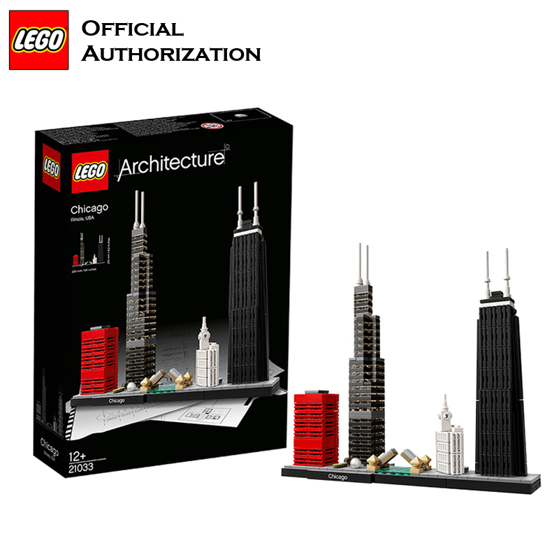 2018 Newest LEGO Architecture Series Building Blocks Toys 444pcs Chicago City Building Toys For Travel Gift Souvenir Brinquedos lego architecture series city building blocks toys paris louvre building toys a tourist souvenir for lego travel toys brinquedos