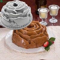 Qian Yi Silver 10 Inch Baking Cake Mold Rose Corolla Pumpkin Cyclone Cast Aluminum Hollow Double
