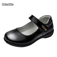 Spring 2019 Children Leather Single Shoes Flats Little Kids Genuine Leather Mary Jane Children Black Dress Shoes