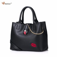 New NUCELLE Brand Design Sexy Red Lips Embroidery Chains Lipstick Lock PU Leather Women Lady Handbag