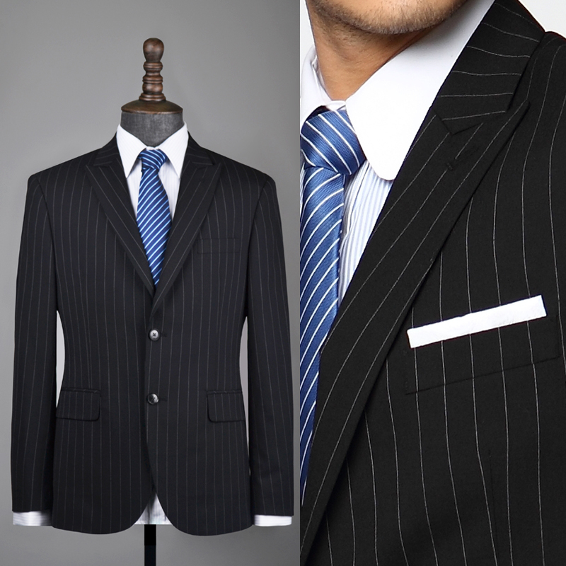 Black Suit With White Pinstripes Dress Yy