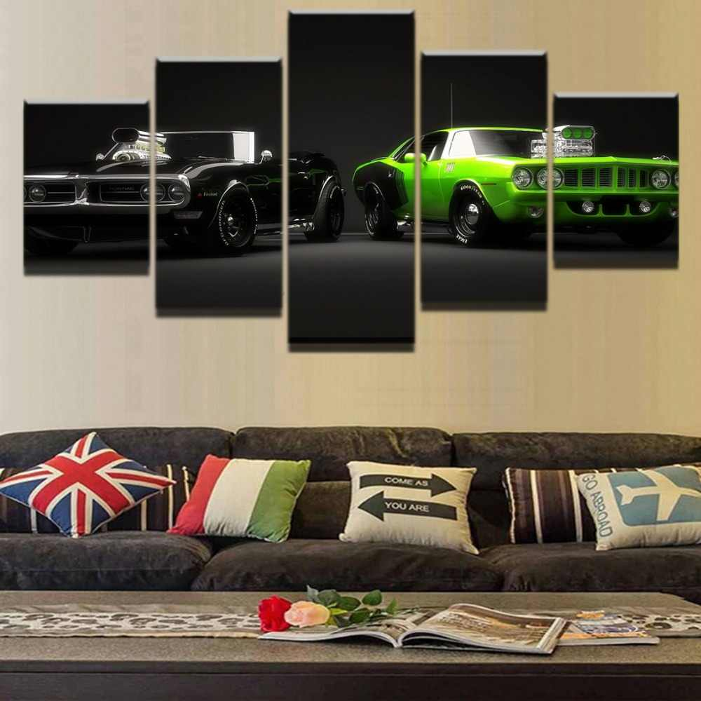Modern Home Decor Wall Art Frame Poster Print Painting On Canvas Artwork 5 Panels Green And Black Cool Car Model Modular Picture