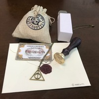 Harri Potter School Stamp Wooden Fire Seal With Admission Notice Letter Hogwarts Gringotts Bank Coin Toy Halloween Cosplay Jouet