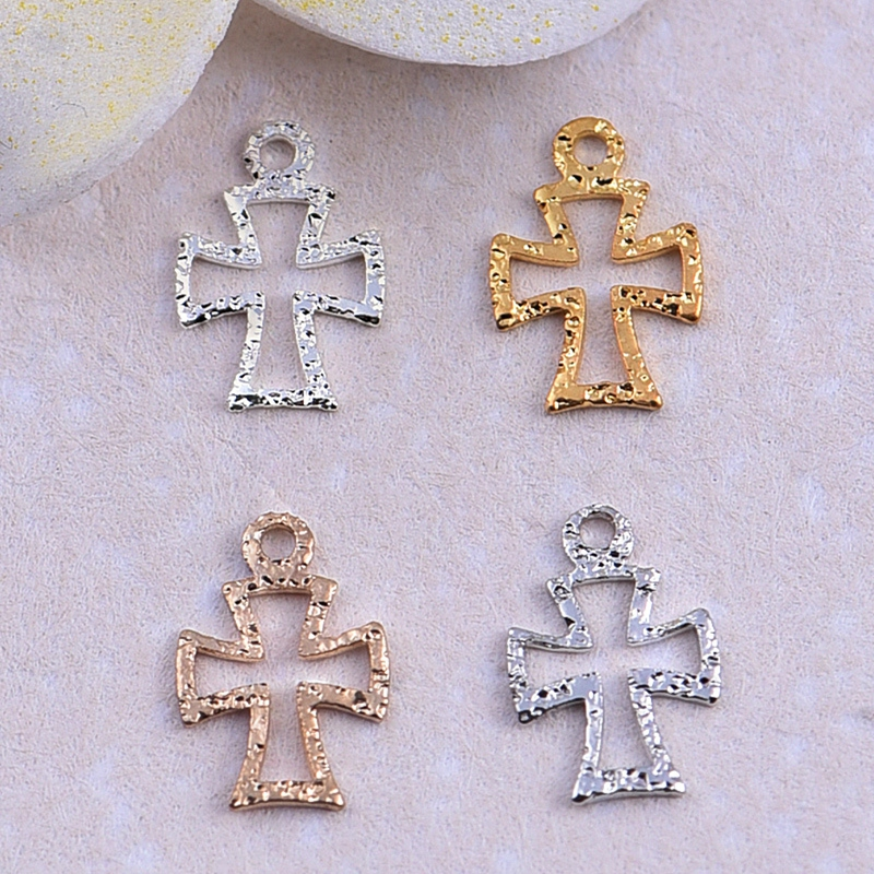1pc 9 6mm cross scrub pendant earrings hollow ornaments diy copper jewelry accessories wholesale for charm
