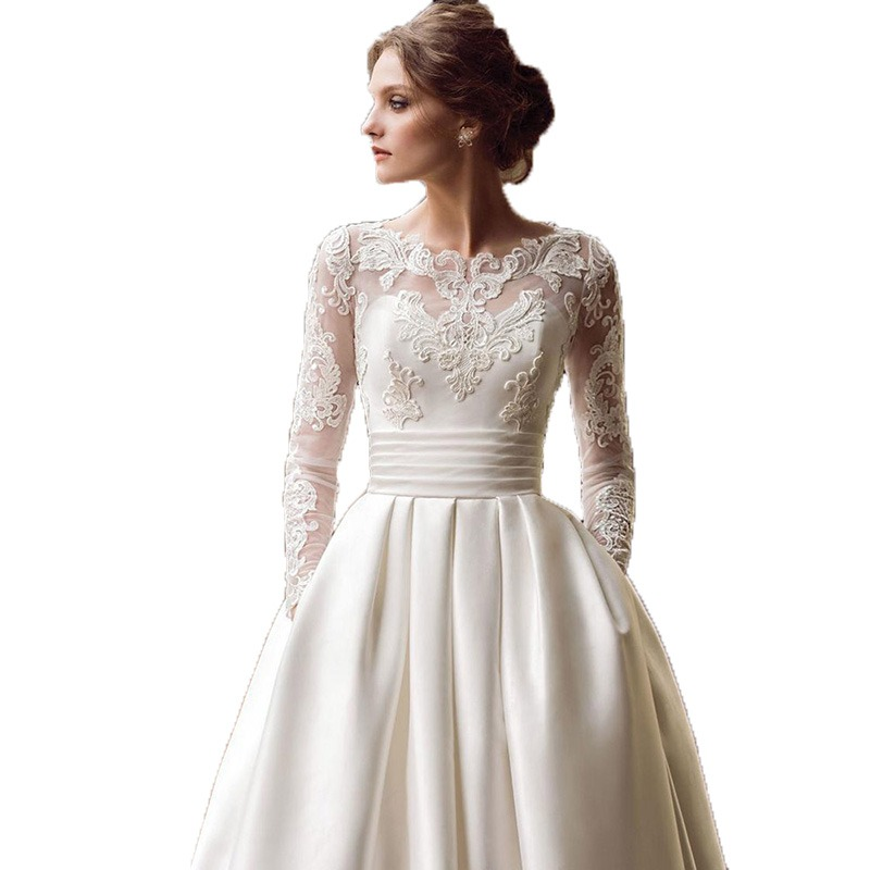 a6e9dd47e Modest Long Sleeve Wedding Dresses Turkey Scoop Satin Appliqued A-line Bridal  Gown with Pockets