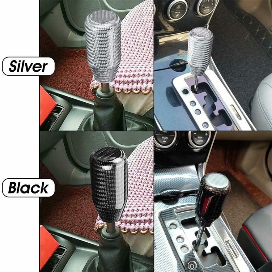 CapsA Gear Shift Shifter Knob Carbon Fiber Universal Manual Gear Shift Knob Stick Shifter for Car
