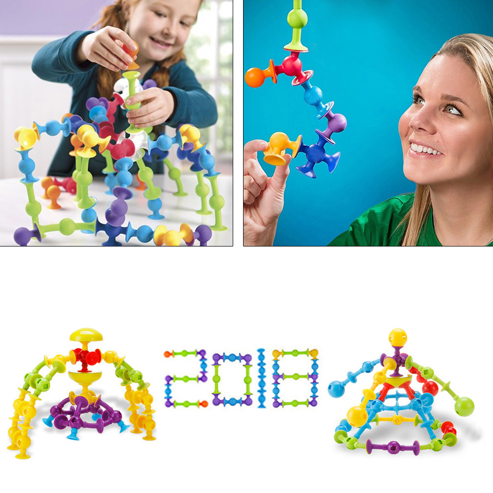 33-72PCS DIY Silicone Building Blocks Constructor Assembled Sucker Cup Funny Magnetic Construction Toys Children Educational Toy