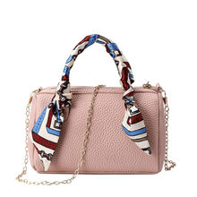 Women's Simple Ribbon Bucket Bag Small Square Bag Single Shoulder Messenger Luxury Leather famous brand woman bags 2019 feminina(China)