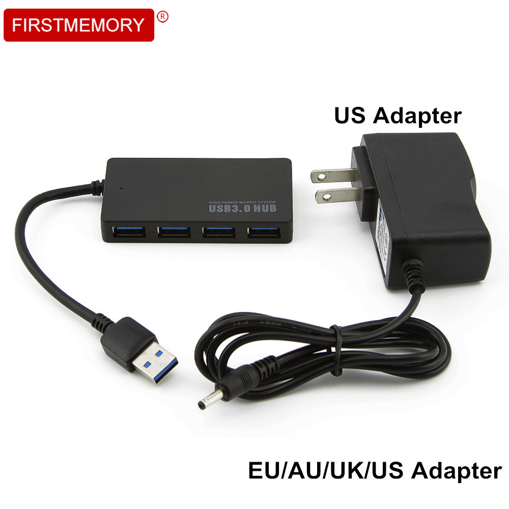 4 Ports USB 3.0 Hub Super Speed USB Hub 3.0 Ultra Slim USB Splitter AU/EU/US/UK External Power Adapter For PC Laptop Computer