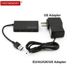 4 Ports USB 3.0 Hub Super Speed Ultra Slim Splitter AU/EU/US/UK External Power Adapter For PC Laptop Computer