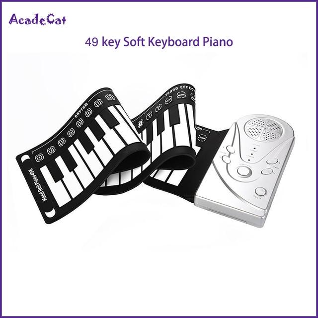 Livraison gratuite 49 cl main rouleau lectronique piano portable pliant doux Flexible clavier retrousser piano avec