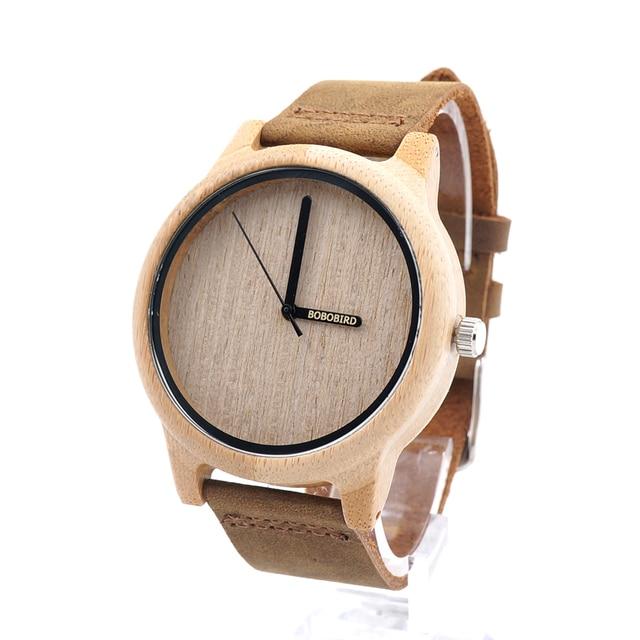 Zegarek drewniany Bobobird Simply Leather