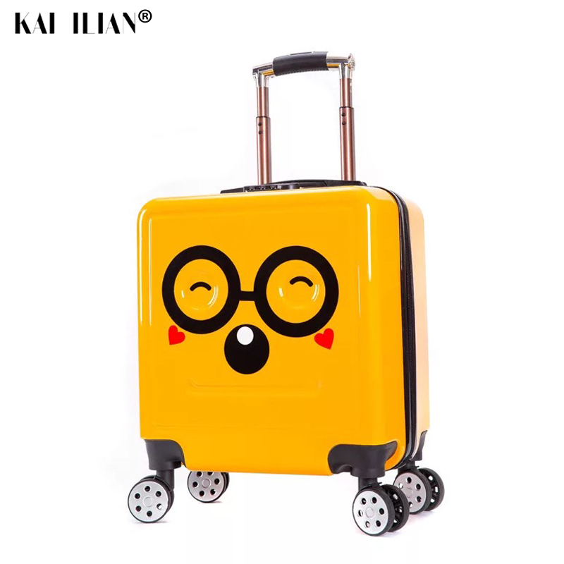 18''kid's Suitcase 3D Smile Travel Rolling Luggage Children's Carry On Trolley Suitcase Cabin Luggage Spinner Wheels Student Bag