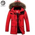 Asesmay 2016 hombres chaqueta abrigo de invierno chaqueta de plumón de pato con capucha de piel Desmontable parka hombres abrigo masculino chaqueta Más Tamaño